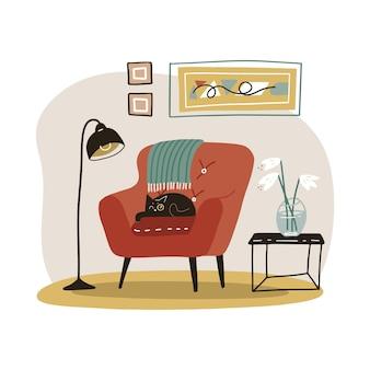 スタイリッシュなスカンジナビアのリビングルームのインテリア。居心地の良い家庭用家具。ヒュッゲスタイルで装飾されたモダンで快適なアパートメント。平らなイラスト。