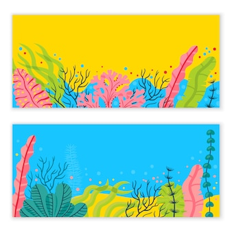 Stylish sea bottom background with seaweeds and place for your text. bright vector marine live banner