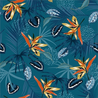 Stylish  seamless pattern vector dark tropical jungle and monotone  palm leaves, exotic palnts with animal skin  floral  design