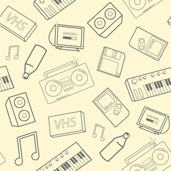 노란색 배경에 오래된 학교 특성, 전자 장치 및 음악 악기와 함께 세련된 매끄러운 패턴입니다. 90년대 컨셉으로 돌아갑니다. 벽지, 웹사이트 배경 벡터 일러스트 레이 션.