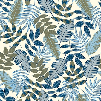 Stylish seamless pattern with tropical plants