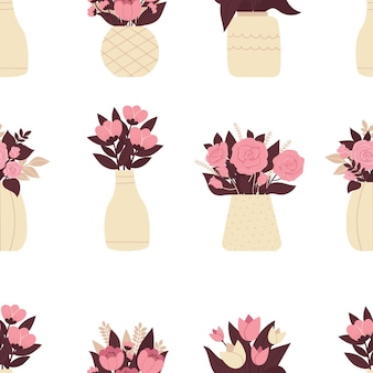 꽃의 꽃병으로 세련 된 완벽 한 패턴입니다. 아름다운 봄 부케, 포장 디자인, 웨딩 장식. 흰색 배경에 평면 그림