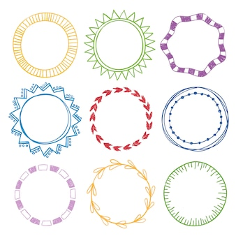 Stylish set of multi colored round frames