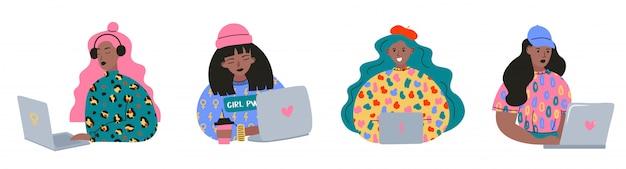 仕事で若い女性のスタイリッシュなセット。かわいい女の子。ラップトップを使用しています。オンライン教育コミュニケーションの概念。手描きイラスト。漫画のスタイル Premiumベクター