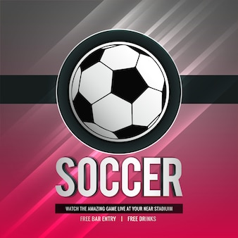 Stylish shiny soccer tournament sports background