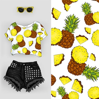 Stylish shorts and a t-shirt with a pineapple print.