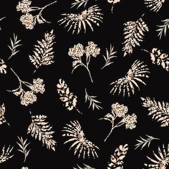 Stylish silhouette of botanical plants seamless pattern