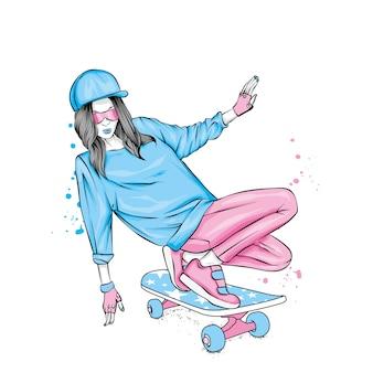 Стильная фигуристка в джинсах и кроссовках. скейтборд.