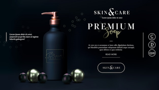 Stylish skin care cosmetics body lotion. soap promo design. washing gel or cleancer in black gold bottle with pump. liquid soap packaging poster, flyer, or web banner. mock-up promo black banner.