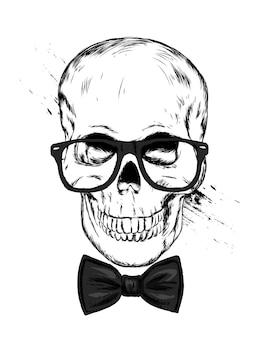 ネクタイとスタイリッシュな頭蓋骨