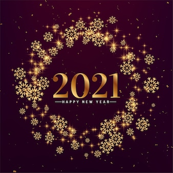 Stylish snowflakes happy new year 2021