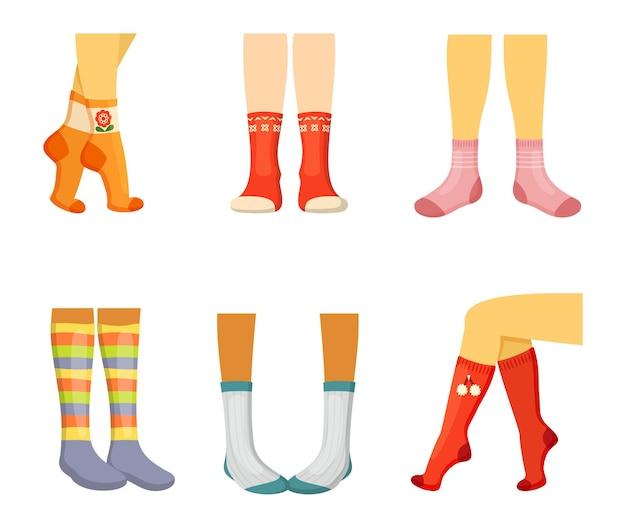 Stylish socks on legs set