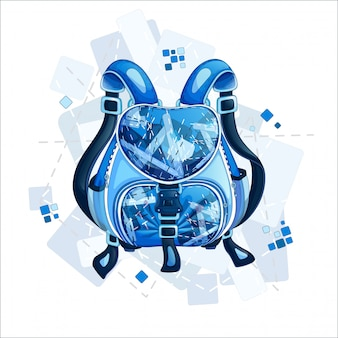 Stylish sporty blue backpack with a geometric design.