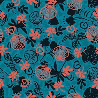 Стильные элементы лета и океана, наслаивающиеся с рисованной ботаническими листьями, бесшовные модели вектор eps10, на бирюзово-зеленом цвете