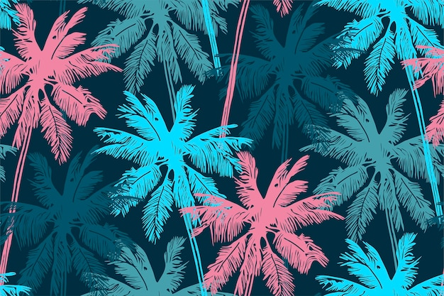 Stylish summer seamless pattern with palm trees