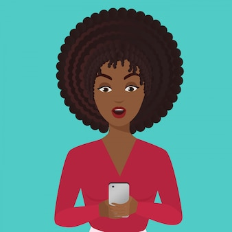 Stylish surprised office african american black young woman with smartphone. girl looking at smartphone.
