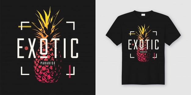 Стильная футболка и одежда современного дизайна с ананасом