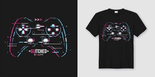 Stylish t-shirt and apparel trendy design with glitchy gamepad, typography, print, illustration.
