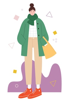 Stylish tall girl with curved proportions on an abstract background Premium Vector