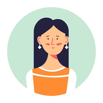 Stylish teenager girl photo or avatar, isolated portrait of woman wearing earrings. elegant female character posing, attractive brunette, student of college or university. vector in flat style