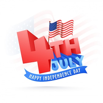 Stylish text 4th of july on waving flag background
