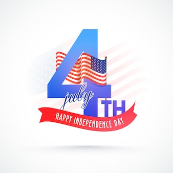 Stylish text 4th of july with waving flag