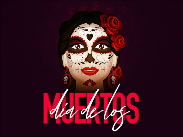 Stylish text of dia de los muertos with catrina face on burgundy .  banner or poster .