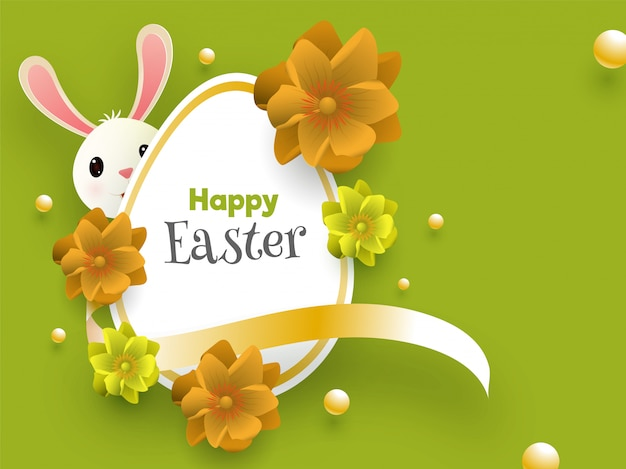 Stylish text of happy easter decorated with realistic flowers an