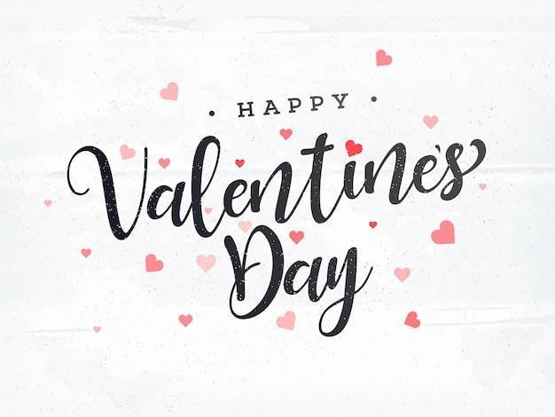 Стильный текст с днем святого валентина с сердечками.