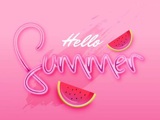 Stylish text of hello summer on pink background