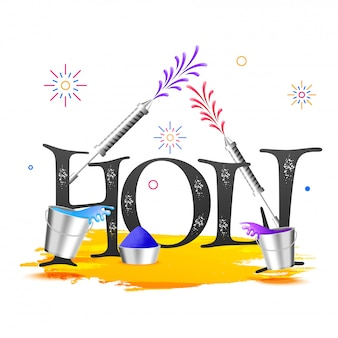 Stylish text holi with festival equipments on white background c