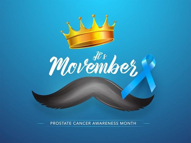Stylish text of it's movember with golden crown, mustache and aids ribbon