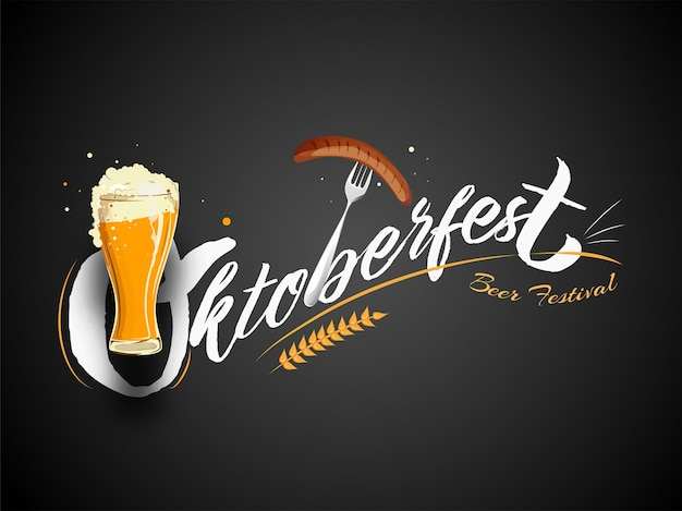 Stylish text oktoberfest beer festival with wine glass