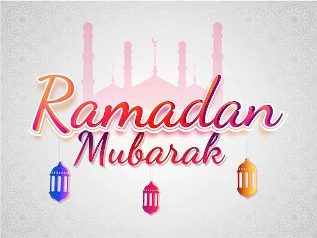 Stylish text ramadan mubarak with hanging colorful lanterns