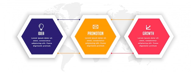 Stylish three options hexagonal infographic template