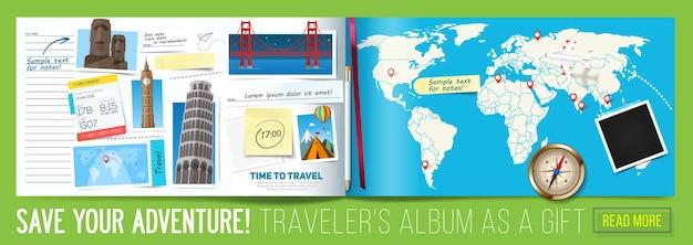 Стильный баннер путешествия с открытым альбомом