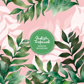 Stylish tropical watercolor seamless background