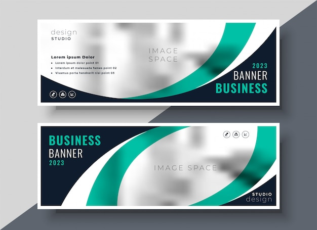 Stylish turquoise wavy business banner