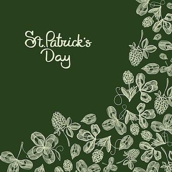 伝統的な聖についての碑文が付いたスタイリッシュなタイポグラフィデザインの落書きカード。クローバー、ホップ、花のベクトル図のパトリックの日と白い画像