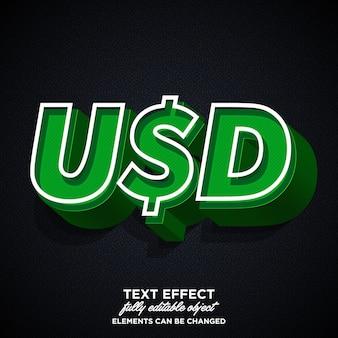 Stylish usd sticker font effect