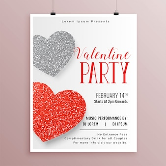 Stylish valentines day party flyer template