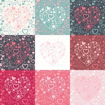 さまざまな色のオプションでカラフルなハートとスタイリッシュなバレンタインデーのシームレスなパターン