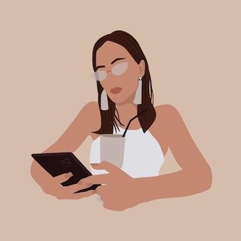 Стильный вектор богемный портрет девушки с очками смартфона и коктейлем