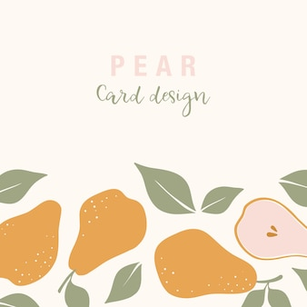 Stylish vector card design with pear fruits.