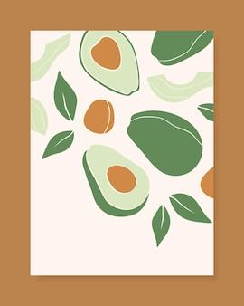 Стильный векторный дизайн обложки с фруктами авокадо