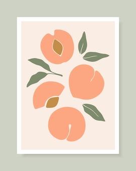 복숭아 과일이 있는 세련된 벡터 표지 디자인입니다. 엽서, 인쇄, 포스터, 브로셔 등을 위한 트렌디한 손으로 그린 복숭아와 잎의 구성. 벡터 그림입니다.