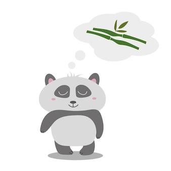 세련 된 벡터 일러스트 레이 션. 작은 귀여운 팬더는 유칼립투스를 생각합니다. 텍스트에 대 한 장소 인사말 카드에 대 한 아이디어