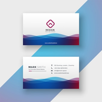 Stylish vibrant wavy business card design