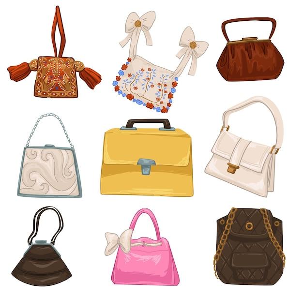 女性のためのスタイリッシュなヴィンテージとレトロなバッグとアクセサリー、弓とリボンが付いた孤立したハンドバッグ、花の装飾品とシンプルなデザイン。ストラップとクラッチの調節可能なハンドル。フラットスタイルのベクトル