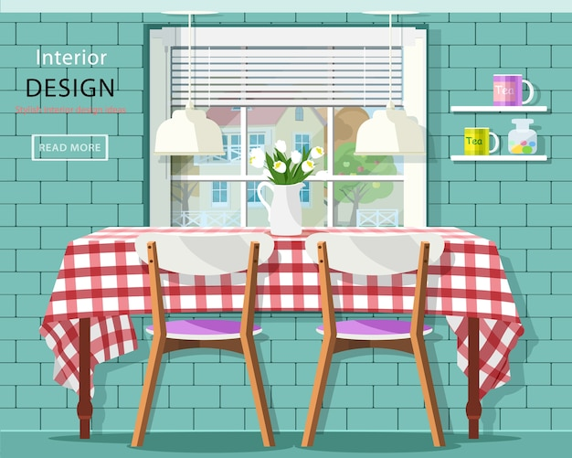 Stylish vintage dining room interior: dinner table with checkered tablecloth, window with jalousie and brick wall with shelves.    illustration.
